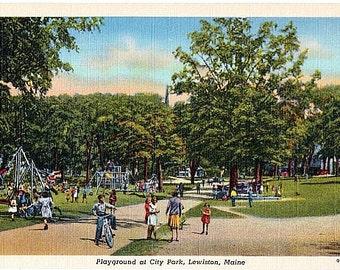 Maine Vintage Postcard - Children at Playground in City Park, Lewiston (Unused)