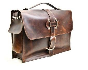 Leather Satchel - Men's Briefcase - Man Bag Murse - Messenger Laptop Bag - Distressed Leather