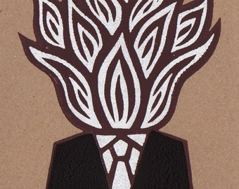 Hot Head. Linocut Greeting Card.