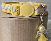 Lemon Yellow Breakaway Cat Collar with Matching Angel Charm