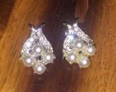 Vintage Faux Pearl and Rhinestone Earrings Clip Earrings