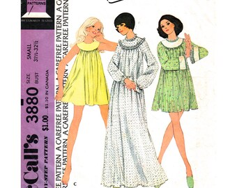 1970s Vintage Nightgown Pattern McCalls 3880 Womens Babydoll Nightie Long Yoked Nightgown Sewing Pattern Long Sleeves Size 8 10 UNCUT