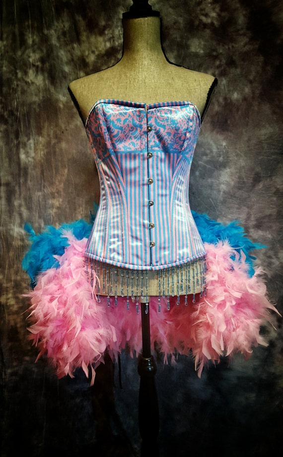 BUBBLE GUM Striped corset Circus Dress Katy Perry burlesque costume pink blue candyland