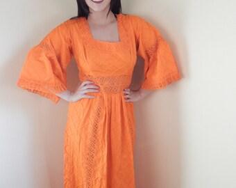 Mexican Dress, Vintage dress, hippie dress, pintucked, Size 7-8-9 ,Wedding dress,  full Length