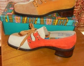 1960s Suede color block shoes 6 1/2 Medium womens