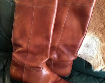 Leather riding boots Size 7.5 US womens Brown