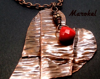 Folded Heart Necklace Copper Folded metal  Hammered Textured Oxidized Valentine Ruby Red Heart