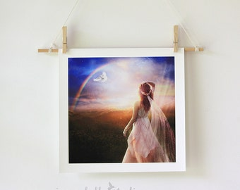 Goddess Portrait, Fantasy Art Archive Quality Giclée Print | Veil of Stars, Unframed | Made to Order