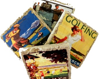 Drink Coasters, Golfer Gift, Vintage Golf, Stone Drink Coasters, Golf Coasters, Golf Gifts, Golf Fan Gift, Golfer, Bar, Golf Decor, Unique