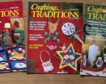 1999/2000/2001 Crafting Traditions magazines set of 3  Christmas holiday craft  patterns guc Lot #1