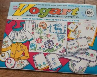 Vintage 50s 60s Vogart Embroidery Transfers 698 Flowers Deer Butterflies unused