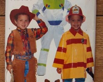1996 butterick pattern 4654 childs costumes cowboy spacesuit fireman sz 2-6X uncut