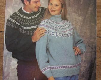 Vintage 1992 knitting pattern Beehive 1099 Men Women sweater shetlland chunky sz 30-44