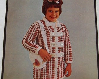 vintage phentex knitting pattern child coat and bag  girls sz 8-10 years