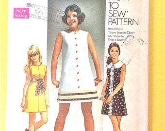 """1960s Simplicity 8609 """"How to Sew"""" DRESS sleeveless dress has back zipper, high round neckline Vintage Sewing Pattern Bust 30.5"""