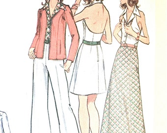 1970s Vintage Sewing Pattern Butterick 3119 1970s Misses' Jacket, Halter Top, A-Line Skirt and Pants, Princess Seaming, Maxi Skirt   Bust 34