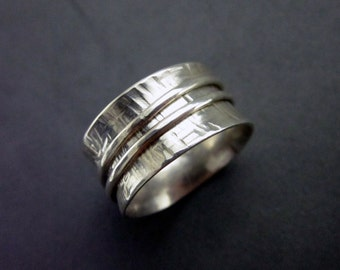 Hammered Silver Spinner Ring Worry Ring Sterling Silver, size 7.5 (7)