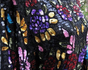 plus size 3x SILK Floral Stained Glass, RARE sequin long blouse, sash not included, evening wear