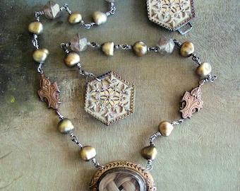RARE Antique Mourning Swivel Hairwork on BOTH Sides Locket Necklace