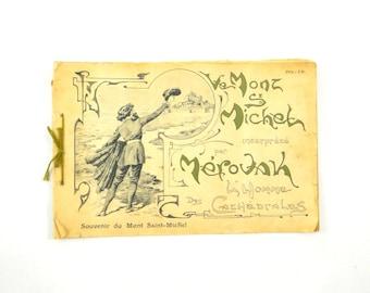 Le Mont Saint Michel Souvenir Art Book by Mérovak The Man of the Cathedrals, Early 1900s