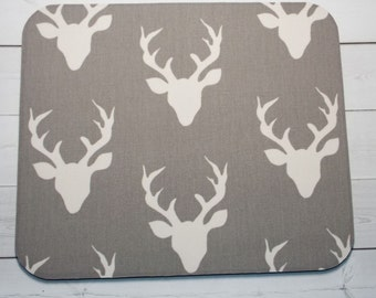stag Mouse Pad mouse pad / Mat -  gray stag deer -  round or rectangle - office accessories desk home decor
