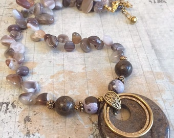 Bronzite and Botswana Agate Necklace Earring Set, brown, Earthy