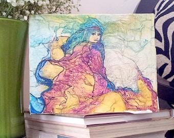 UNICORN RIDER Original Painting ZEN Inspired Watercolor On Tissue Fantasy Lynne French Art