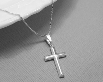 Cross Necklace, Sterling Silver Cross Necklace, Sterling Silver Cross, Baptism Gift, Sterling Silver Necklace, Confirmation Gift Necklace