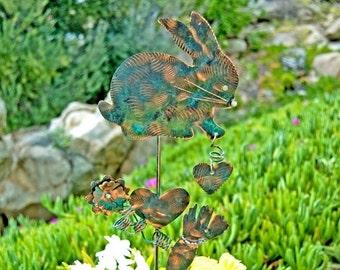 ON SALE Bunny Rabbit Handmade Stake / Copper Art / Yard Art / Metal Garden Art / Farm Animal / Garden Sculpture / Barnyard / Patio Decor