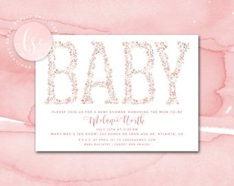 Printable Baby Shower Invitation, Floral Baby Shower Invite, Girl Baby Shower Invitation, Digital Baby Shower Invitation