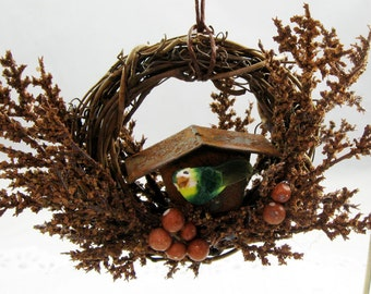 Bird and Rustic Birdhouse Christmas Ornament 154