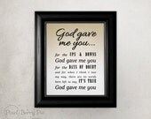 God Gave Me You - song lyrics, 8x10 printed artwork (Custom colors available!) music gifts // READY TO SHIP