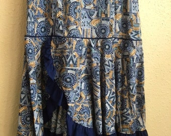 Vintage BLUE HAWAIIAN Dress With RUFFLE Bottom / Royal Creations Womens Medium Large