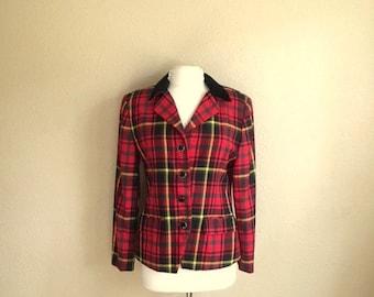 Vintage Red PLAID BLAZER  / Preswick & Moore Shirt Jacket / Womens Medium Large