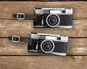 Personalized Luggage Tags Black Retro Camera Metal Tag Set , Printed Personalized Information on Back, 2 Tags with Choice of Straps