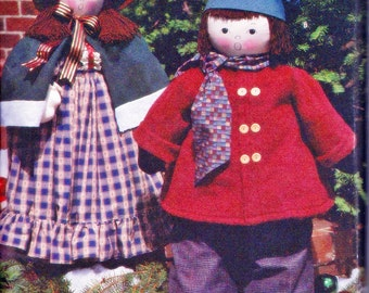 """Primitive Greeters Large Carolers Boy (46"""") & Girl (38"""") w/Clothes Simplicity 8415 Holiday Crafts Sewing Pattern by Faith Van Zanten UNCUT"""