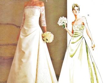 Vogue 2842 Uncut (12-16) Misses Wedding Dress Pattern Formal Gown Vogue Bridal Original 2004 Womens Sewing Pattern UNCUT