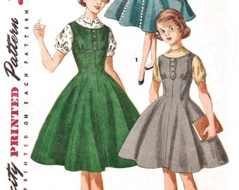 1950s Girls Dress Pattern (Size 8) Dress, Jumper & Blouse 1955 Vintage Simplicity 1291 Sewing Pattern 50s