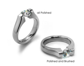 1ct and 1.5ct and 2ct  Contemporary White Sapphire Engagement Ring Tension Set Steel