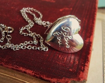 Vintage Locket Necklace Silver Plate Heart I Love You Locket with Pearls Ivory Pearl Charm Photo Locket Sweetheart Gift Jewelry