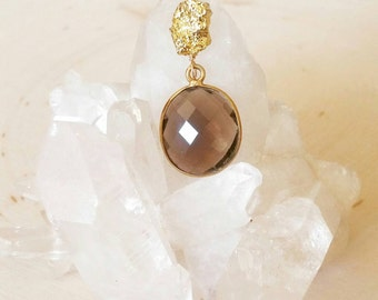 SALE! Smokey Quartz Bezel & Gold Pyrite Nugget Pendant Necklace. boho chic. Double strand. Double Chain. Evening. Gift. Brown.