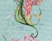 VINTAGE FABRIC MERBABY Riding Seahorse Fabric Block tlm01.