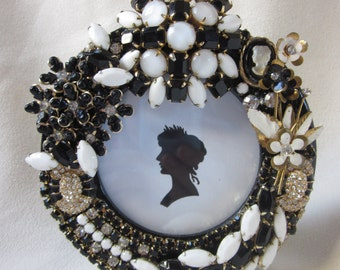 Vintage Rhinestone Jewelry Picture Frame Black White Milk Glass