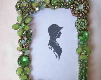 Vintage  Repurposed Rhinestone Jewelry Picture Frame Green Embellished Givre Brooches
