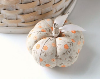 Orange and Beige Floral Pumpkin Pincushion Pin Keep Autumn Decor Small Pumpkin