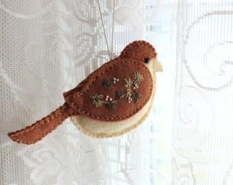Embroidered Felt Bird Ornament Brown and Cream Wool Felt Bird Christmas Tree Ornament
