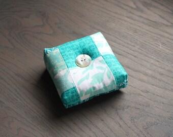 Turquoise Blue Modern Square Pincushion Aqua Pin Keep Scrappy Pin Cushion