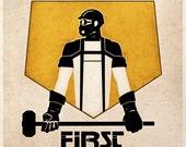 Steampunk Dieselpunk Art Print Safety First Advertisement Propaganda Sci Fi Wall Decor
