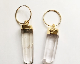 Quartz hoop earrings ~ 20mm gold fill hoops with quartz points