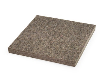"Low Density Industrial Wool Felt Square - Natural Gray, SAE F15 Grade, 12"" x 12"", 1/8"" to 1"" Thicknesses Available"
